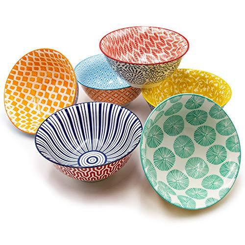 KitchenTour Porcelain Bowls 6 Packs - Large Ceramic Bowls for Cereal, Soup, Salad, Pasta, Rice - Assorted Colorful Design ()