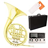 LAGRIMA Single Bb French Horn Brass Professional Band w/ Tuner, Care Kit for Beginner