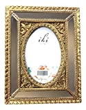 Unique Mirrored and Gold Resin Picture Frame, Holds 4 Inch x 6 Inch Photo