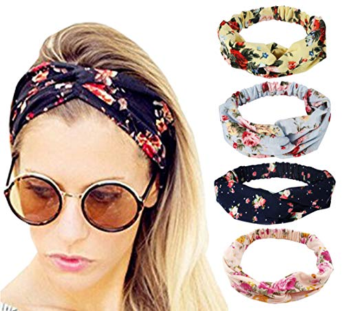 Flower Hat Band - 4 Pack Headbands Vintage Elastic Printed Head Wrap Adjustable Moisture Hairband Twisted Cute Hair Accessories