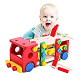 Wood Education Child Scrap Screw Car Disassembly Removable Multifunction Knock Ball Tinker Toy