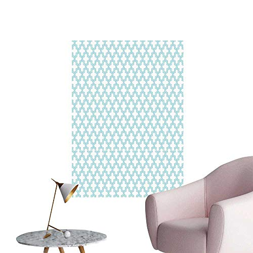 (Quatrefoil Wall Mural Wallpaper Stickers Pale Color Geometric Girih Entwined Blue Triple Lines Forming Curvy Shapes Men's Room Wall Pale Blue White W32 x H48)