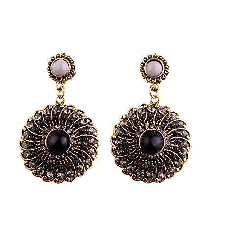 Darkey Wang Woman Fashion Jewelry Bohemian Colored Circle Earrings(Black)