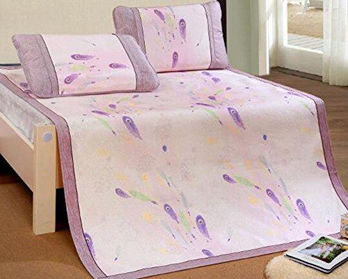 A3 180200cm Tapis de lit d'été Jacquard mat ensemble trois pièces 1.8m climatisation pliable glace soie unique single 1.5 lit tapis d'été (Couleur   A6, taille   150  195cm)