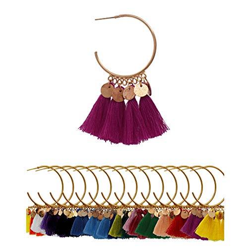 - AMCHIC Fan Bohemian Statement Gold Plate Cotton Tassel Fahion Earrings for Women Dangling,Thread Fringe with Vintage Ethnic Pattern Metal Drop Pendant Earrings,Ladies' Gift
