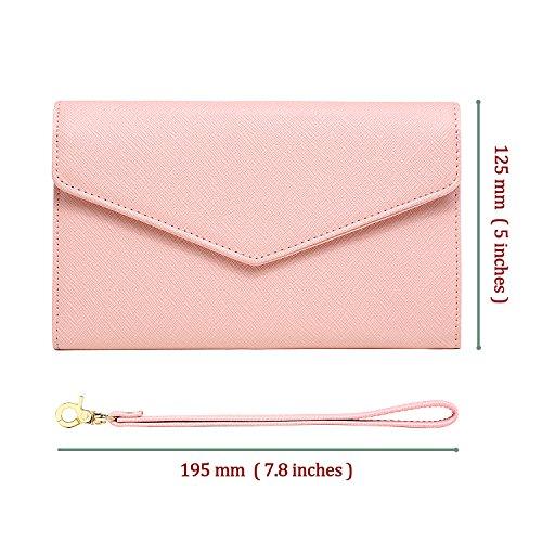 Krosslon Travel Passport Wallet for Women Rfid Wristlet Slim Family Document Holder, 205 Pastel Pink by KROSSLON (Image #4)