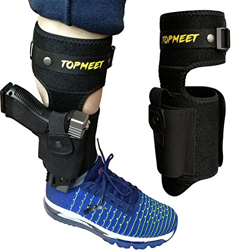 - topmeet Ankle Gun Holster for Concealed Carry,Airsoft Pistol with Magazine Ammo Pocket for 1911 Glock Ruger Bodyguard Lcp 2,Sig Sauer s&w m&p Shield Taurus Springfield