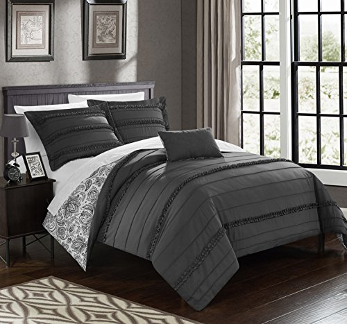 Chic Home 8 Piece Eliza Pleated and Ruffled REVERSIBLE Paisely Floral Print,sheets set included in King Duvet Set Grey