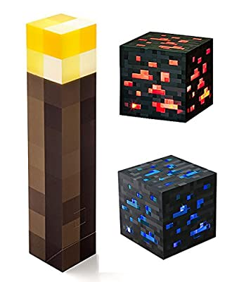 ThinkGeek Minecraft Light-Up Wall Torch Diamond Ore and Redstone Ore Pack of 3 from ThinkGeek