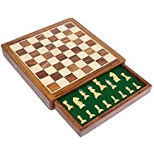 """12"""" Inch Wooden Chess Set Game with Magnetic Chess Pieces and a Flat Chess Board with Storage Drawer in Solid Hard Rosewood - Handmade Wooden Indoor Family Board Games and Gifts from India"""