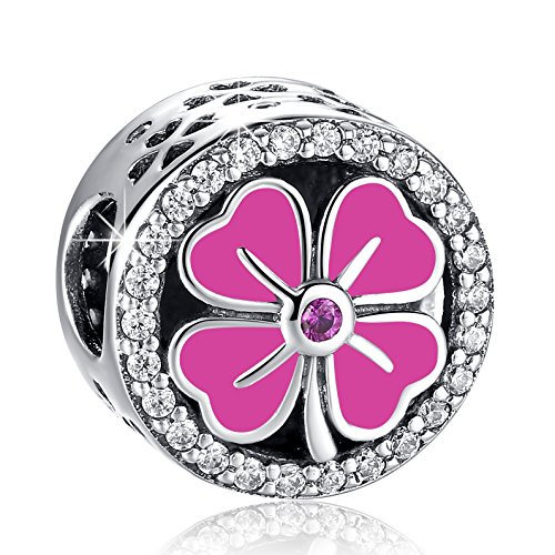 ANGELFLY Red Four Leaf Clover Charm 925 Sterling Silver Heart Petals Lucky Clover Good Luck Flower Charms fit Pandora Bracelets Back to School Birthday Gifts for Daughter Sister Teen Girls ()