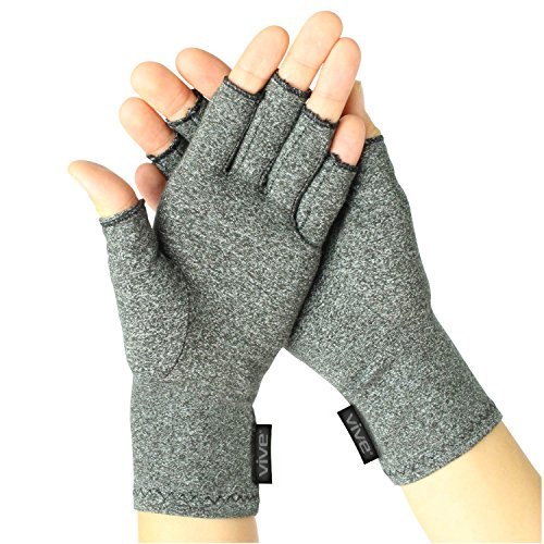 (Vive Arthritis Gloves - Men, Women Rheumatoid Compression Hand Glove for Osteoarthritis- Arthritic Joint Pain Relief - Carpal Tunnel Wrist Support - Open Finger, Fingerless Thumb for Computer Typing)