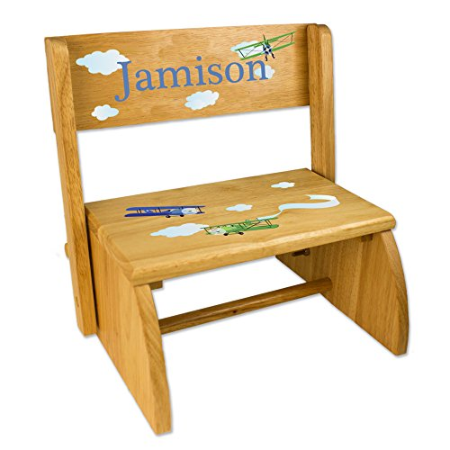 Personalized Airplane Childrens and Toddlers wooden folding stool