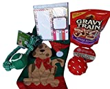 DOG CHRISTMAS STOCKING Santa Don't Forget The DOG gift bundle – 3 items: 1 stocking, 1 tasty chew, 1 pack balls For Sale