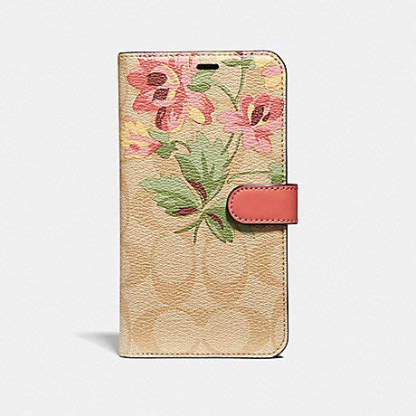 Coach Signature Canvas with Lily Bouquet Print Folio Case for iPhone X/iPhone Xs (Light Khaki/Pink) ()