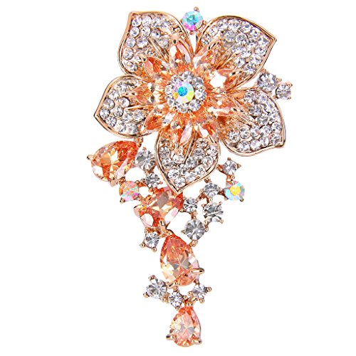 EVER FAITH CZ Austrian Crystal Blooming Orchid Flower Tear Drop Pendant Brooch Pin Topaz-Color Gold-Tone ()
