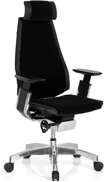 hjh OFFICE 652858 Profi Bürostuhl GENIDIA PRO StoffVelour Schwarz Hochwertiger Bürosessel, individuell einstellbar