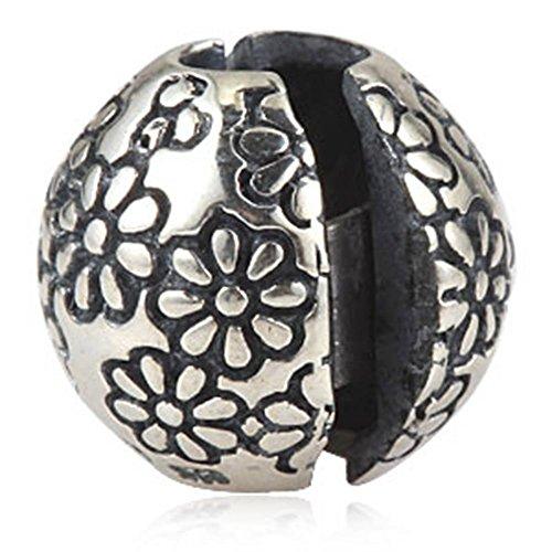 Choruslove Lazy Daisy Flower Clip Lock Round Charm for European Style Bracelet