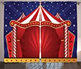 Ambesonne Circus Decor Collection, Canvas Tent Circus Stage Performing Theater Jokes Clown Cheerful Night Theme Print, Window Treatments for Kids Girls Boys Bedroom Curtain 2 Panels Set, 108X63 Inches