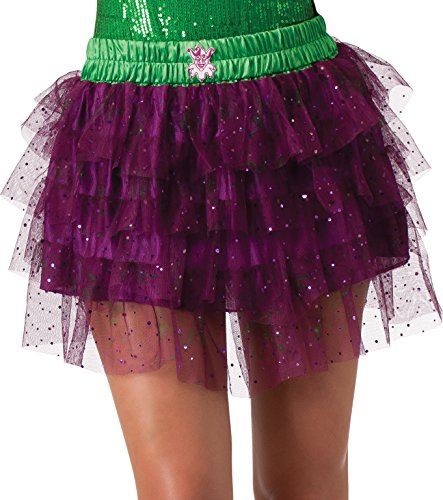 Secret Wishes  DC Comics Justice League Superhero Style Adult Skirt with Sequins The Joker, Purple, One Size