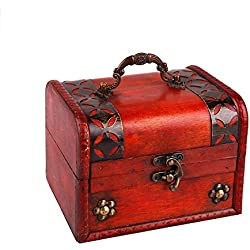 "SICOHOME Pirate Treasure Box,5.7"" Wood Decorative Box with Handle"