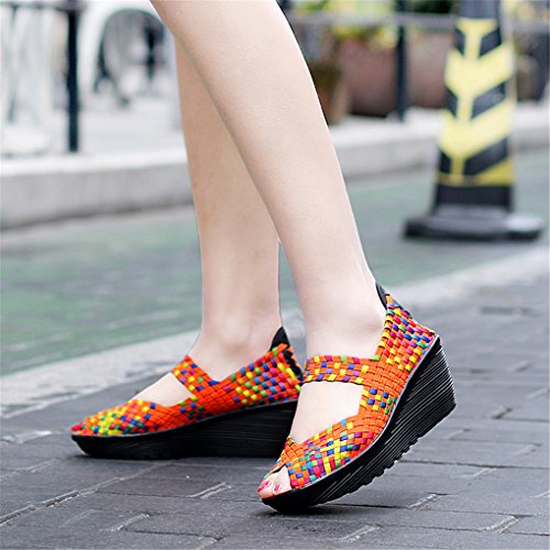 Open Platform Shoes Pump Orange Casual Women's Toe Wedge Sandals Ruiatoo Woven q8SAw