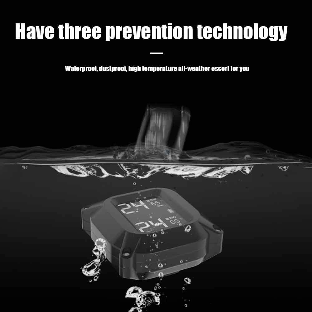 PURATEN Motorrad Reifendruckkontrollger/ät PMS Reifendruckkontrollsystem Wasserdichtes Monitorsystem mit 2 externen Sensoren LCD-Anzeige Alarmfunktion Temperaturanzeige f/ür Motorrad Moto Tool