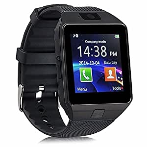 YIMOHWANG Bluetooth Smart Watch DZ09 Smartwatch Watch Phone Support SIM Card and TF Card with Camera for Android IOS iPhone Samsung LG Phones (Black)