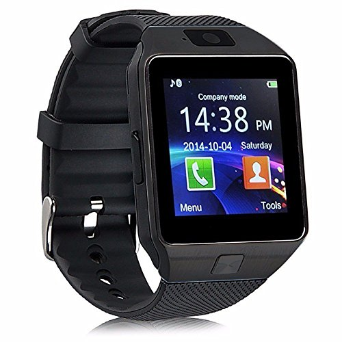 WJPILIS Smart Watch DZ09 Touchscreen Bluetooth Smartwatch Wrist Watch Sports Fitness Tracker with SIM SD Card Slot Camera Pedometer Compatible iPhone iOS Samsung Android for Men Women Kids (Black)