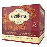 Blooming Tea Gift Set - Stovetop Safe Glass Teapot with 7 Flavored Organic Flowering Teas and Infuser - Includes Removable Filter for Loose Leaf Tea