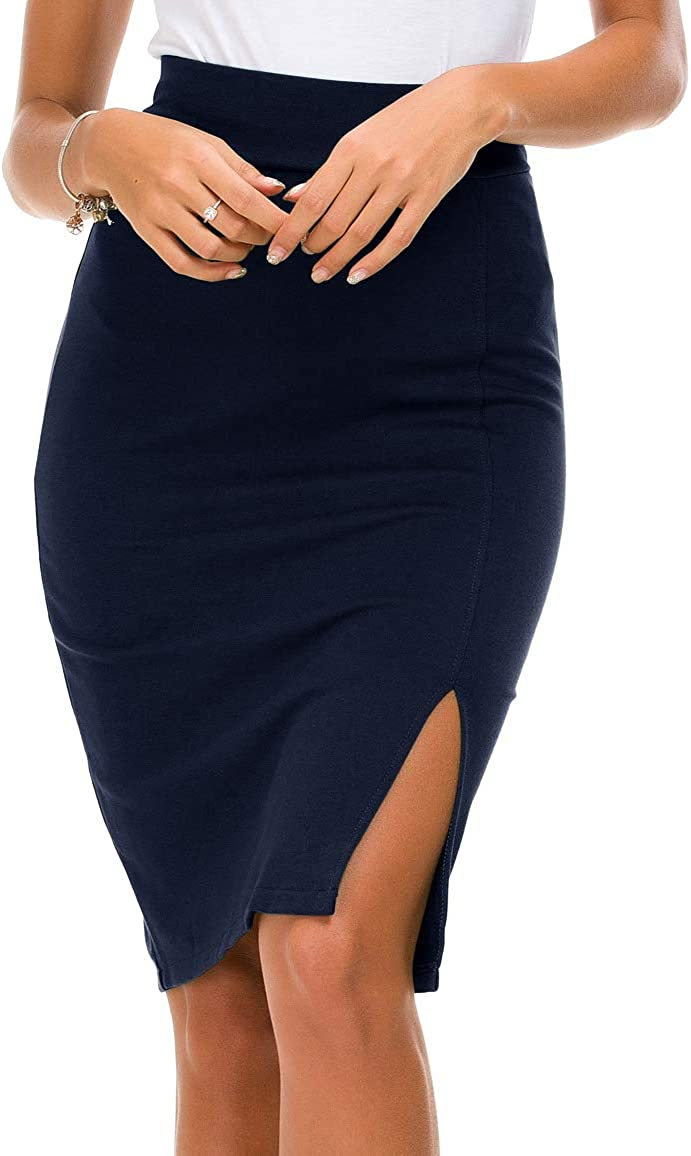 Urban CoCo Women's Elastic Waist Side Slit Hem Bodycon Pencil Skirt
