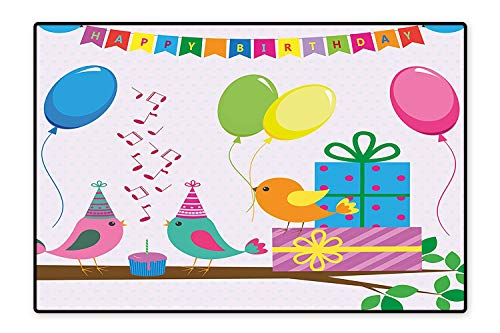 Printed Floor Rugs Singing Birds Happy Birthday Song Flags Cone Hats Party Cake Color Bath mat Non Slip Absorbent 5'x6'