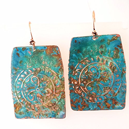 Blue Green Turquoise Earrings - Ma'at Oversized Boho Blue, Rust and Green Patina Medallion Earrings in Copper by BANDANA GIRL