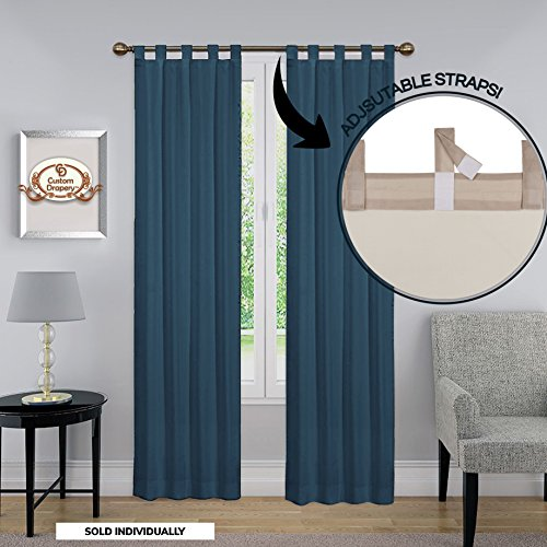 ing Drapery Curtain - Adjustable Lengths, Molly Collection Drapery Tab Top Curtain Panel, One Panel 52 x 84 Color Blue ()