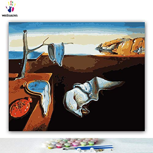 Paint by Number Kits 16 x 20 inch Canvas DIY Oil Painting for Kids, Students, Adults Beginner with Brushes and Acrylic Pigment -The Persistence of Memory Salvador Dali(Without ()