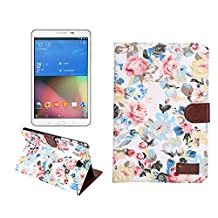 Samsung Galaxy Tab A 8.0 Case, NOKEA [Ultra Slim] [Dual Layer] [Anti-Scratches] Lightweight Premium PU Leather & Flower-Cloth Wallet Case Cover for Samsung Galaxy Tab A 8.0 Inch SM-T350 (White Floral)