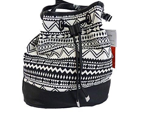 1af6d95048899 TCM Tchibo Beuteltasche Schultertasche Crossbag Damentasche Tasche schwarz  weiss