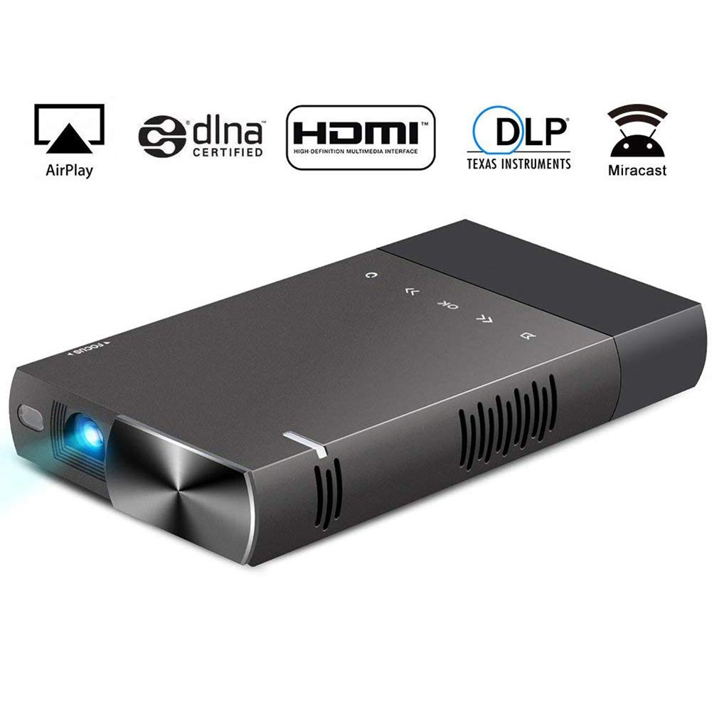 ミニビデオプロジェクター LED フル HD ホームシアター0.3 インチ DLP ディスプレイシステム120インチプロジェクションサイズ2000ルーメン 1080p 5200mAh バッテリーホームエンターテイメント   B07V5VM7ZR