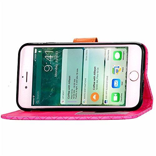 Voguecase® Pour Apple iPhone 6/6s 4,7 Coque, Étui en cuir synthétique chic avec fonction support pratique pour Apple iPhone 6/6s 4,7 (motif de contexture-Rose)de Gratuit stylet l'écran aléatoire unive