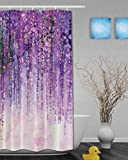 "Art Printing Decor Collection Spring Landscape Purple Floral Bathroom Shower Curtains Mildew And Fade Resistant Waterproof Polyester Fabric 72""x36""Inch"
