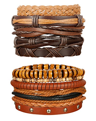 ORAZIO 10Pcs Braided Leather Bracelet for Men Women Wooden Beaded Bracelets Wrap Adjustable