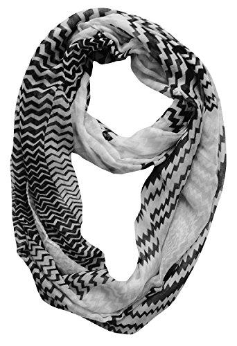 Peach Couture Modern Swirl Zig Zag Chevron Tri Color Infinity Loop Scarf (Black/White)