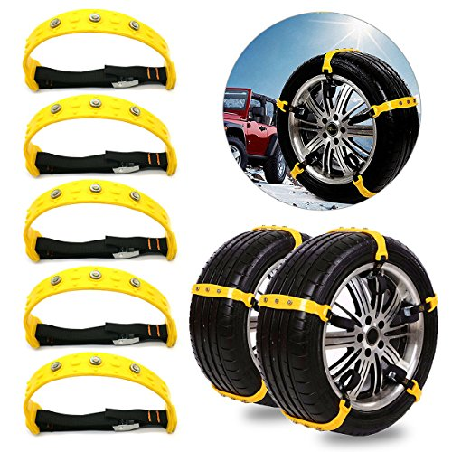 Tire Chains, Snow Chains, Car Tire Snow Chains Mud Emergency Driving Car Security Chain for Car SUV Trucks Vans Minivans 185mm-225mm 10PCS