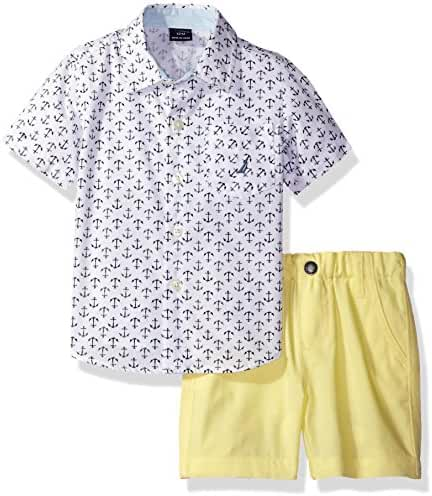 Nautica Baby Boys' Short Sleeve Woven and Pull On Short Set
