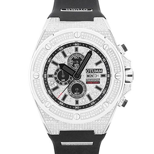 Otumm - Reloj unisex de acero con fecha de diamante de 52 mm, color negro: Amazon.es: Relojes