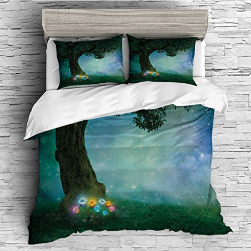 3 Pieces (1 Duvet Cover 2 Pillow Shams)/All Seasons/Home Comforter Bedding Sets Duvet Cover Sets for Adult Kids/Double/Forest Decor,Fairytale Little Red Riding Hood Forest at Night with Flowers and St ()