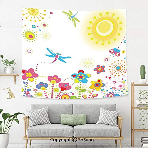 8' Wool Purse - SoSung Dragonfly Wall Tapestry,Summer Themed Floral Backdrop with Sun Rays Colorful Dandelions Happiness Graphic,Bedroom Living Room Dorm Wall Hanging,80X60 Inches,Multicolor