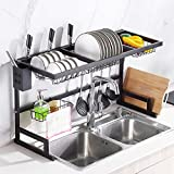 WIDELUCK Dish Rack Over Sink ,Kitchen Stainless Steel Over The Sink Shelf Storage Rack (Sink size ≤ 33.5 inch)(Black)
