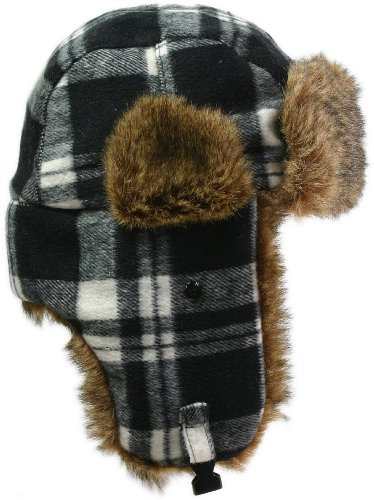 LL Women's Fashion Trooper Trapper Ski Hat - Black Plaid Multi Fur - Large