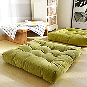 HIGOGOGO Solid Square Seat Cushion, Tufted Thicken Pillow Seat Soft Corduroy Chair Pad Tatami Floor Cushion for Yoga…